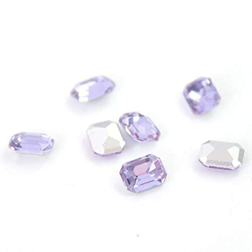 Gouen 20Pcs Mix Crystal Nail Art Rhinestones Gold Octagon Stones Gem for Nail Art Charms 3D Decoration Manicure,Crystal Purple