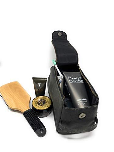komalc premium buffalo leather unisex toiletry bag travel dopp kit (charcoal black)