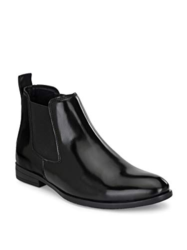 FENTACIA Men Black Synthetic Leather Formal Chelsea Boots