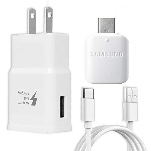 Samsung Cargador adaptador de pared rápido adaptativo para Galaxy S10 S9 Plus Note 9 S8 Note 8 EP-TA20JWE – 6 pies tipo C/USB-C y adaptador OTG, color blanco