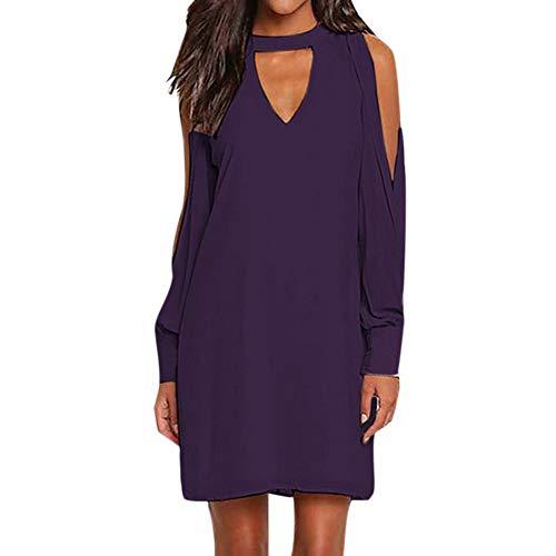 Aesyorg Schulterfreies langärmliges Kleid für Damen Sexy V-Ausschnitt Neckholder-Knopf hinten offenes, weibliches Kleid