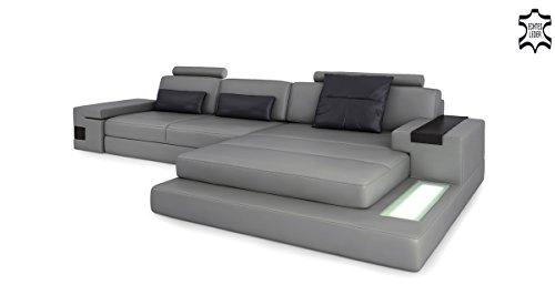 Bullhoff by Giovanni Capellini Leder Couch Sofa Ecksofa grau/schwarz Eckcouch L-Form Wohnlandschaft Ledercouch mit LED-Licht Beleuchtung Designsofa Hamburg III