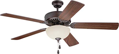 """Craftmade K11201 Pro Builder 202 52"""" Ceiling Fan with CFL Lights and Pull Chain, 5 Blades, Aged Bronze Brushed"""