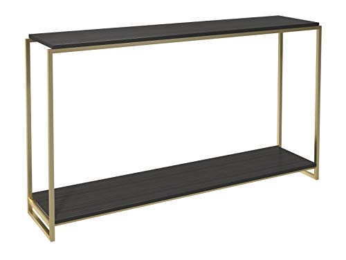 Narrow Console Table - Black Stained Oak Shelves With Brass Frame