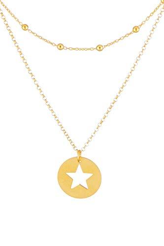 Córdoba Jewels | Gargantilla en Plata de Ley 925 bañada en Oro con diseño Chapa Estrella Cadena Bolitas Gold
