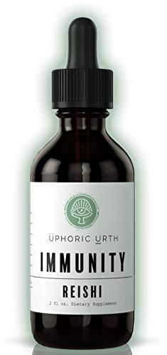 Uphoric Urth Reishi Mushroom Extract - Double Extracted Fruitbody Mushroom Tincture | Immunity Booster, Reduce Inflammation, Lower Blood Sugar, Improve Sleep, Balance Hormones (60 Servings)