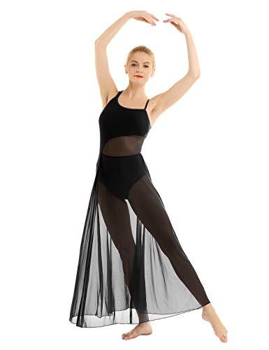 Inlzdz - Body asimmetrico da donna, stile asimmetrico, stile contemporaneo, stile balletto Nero S