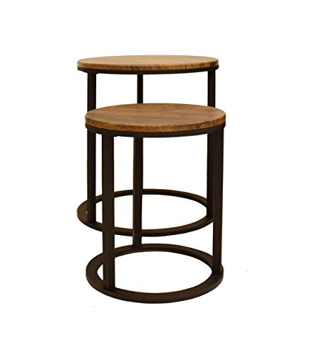 ASPECT Paloma Set of 2 Round Nesting Table (Vintage/Black), L 40 diax50 S 30 diax40(H) cm