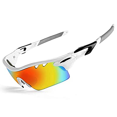 JOGVELO Polarized Sports Sunglasses,Cycling Glasses Men with 5 Interchangeable Lenes, White