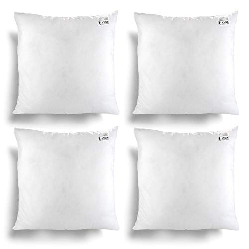 IT IDEAL TEXTILES Pack of 4 18' x 18' Hollowfibre Cushion Inner Pads, White Anti Allergy Cushions Pads, Fully Machine Washable Fibre Cushion Cover Inserts