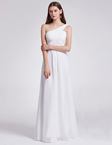 Ever-Pretty Vestito da Cerimonia Donna Monospalla Linea ad A Chiffon Stile Impero con Cinghia Bianco 44