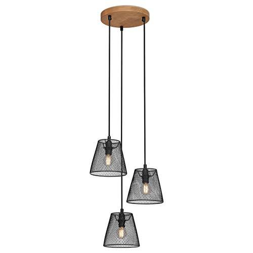Briloner Leuchten - Lampe à suspension, lampe à suspension 3-flamme, rétro, vintage, abat-jour grillagé, 3x E14, max. 40 Watt, métal-bois, noir, 210x1255mm (DxH)