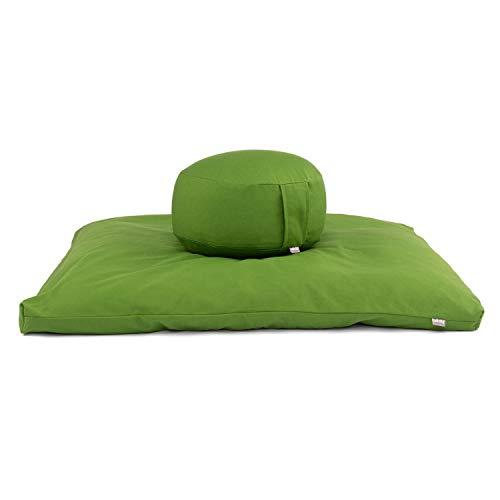 Bodhi Meditations-Set ECO   Meditationskissen Rondo + Zabuton Dinkel   olivgrün