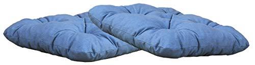 Ambientehome Sitzkissen Auflage Sitzpolster, 50 x 50 x 8 cm, 2er Set, blau/grau