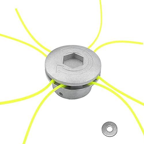 Testina Decespugliatore Universale, XiXiRan Testina per Erba in Alluminio, Testina per decespugliatore in alluminio, Testa Doppia per Decespugliatore, con 4 Linee, Accessorio per decespugliatore