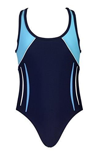 Landora® hochgeschlossener, sportlicher Mädchen Badeanzug/Schwimmanzug in Marineblau/türkis - Oeko-Tex® Standard 100 in Größe 164