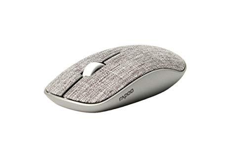 Rapoo M200 Plus - Ratón inalámbrico Bluetooth y inalámbrico (2,4 GHz) a través de USB, Superficie de Tela, silencioso, para Ordenador portátil, Plano, 1300 dpi, Color Gris