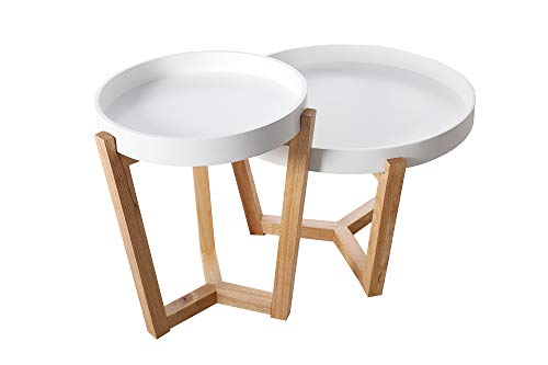DuNord Design Tabletttisch weiß rund modern 2er Set Tablett weiß Eiche Massivholz Beistelltisch
