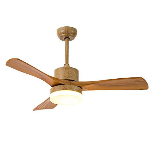 Ventilador de techo Comedor Sala de estar Control remoto LED Lámpara de ventilador Simple Ventilador de madera maciza Luz Energía eólica Ventilador de madera maciza Mejora LED Luz tricolor Xuan - wort
