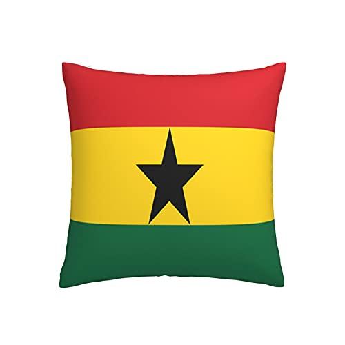 Kissenbezug mit Flagge von Ghana, quadratisch, dekorativer Kissenbezug für Sofa, Couch, Zuhause, Schlafzimmer, drinnen & draußen, niedlicher Kissenbezug 45,7 x 45,7 cm