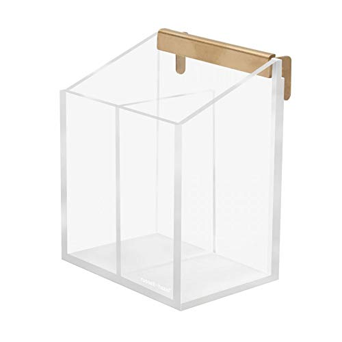"russell+hazel Acrylic Wall Pencil Bloc, Clear with Gold-Tone Hardware, 4.175"" x 3.5"" x 5.125"""