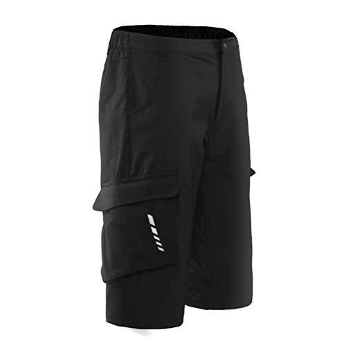 Hihey heren fietsbroek mountainbike broek fietsbroek heren kort, outdoor sport fietsbroek MTB bike shorts Medium zwart