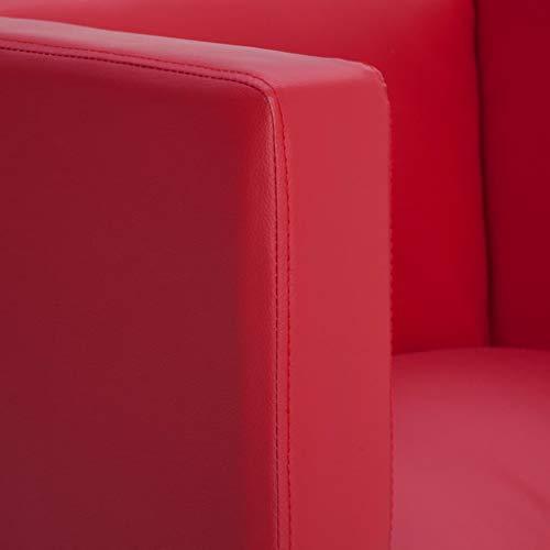 vidaXL Clubsessel Loungesessel Cocktailsessel Relaxsessel Fernsehsessel Ledersessel Lounge Sessel Stuhl Sofa Wohnzimmer Rot Kunstleder