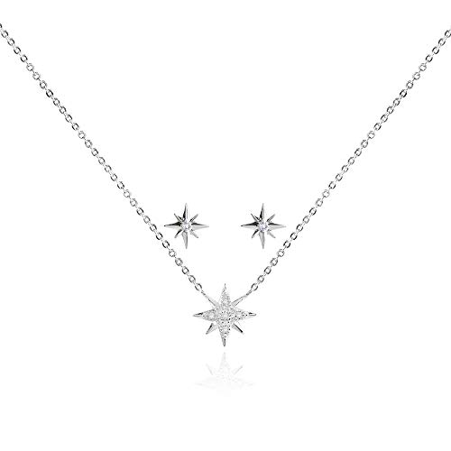 Katie Loxton - Sentiment Set - Happy Birthday -Starburst- Silver- Necklace 46cm +5cm Extender/Stud Earring