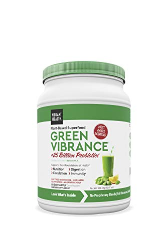 Vibrant Health Green Vibrance Superfood Powder - 83 Day Supply - Super Greens Powder with Over 60 Pure Ingredients