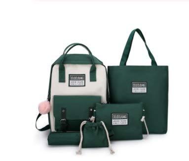 OYPY 5 Piece Set High School Bags for Teenage Girls 2020 Canvas Travel Backpack Women Bookbags Teen Student Schoolbag Bolsas Escolar (Color : Green)