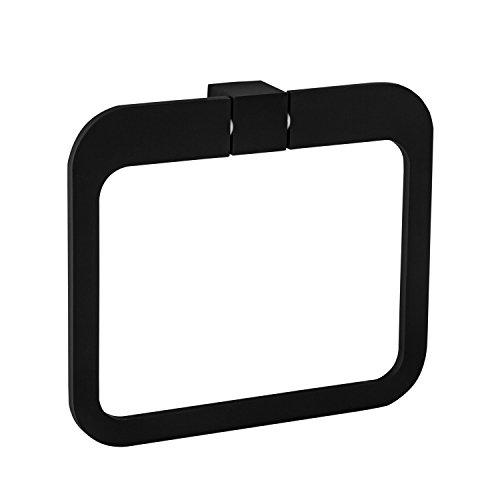 Gedotec Wand-Handtuchhalter Bad Handtuchring Edelstahl schwarz matt - B069 | Badetuchhalter für die Wandmontage | Aufhängung für Bad - Toiletten - WC | 1 Stück - Design Tuchhalter für die Wand-Montage