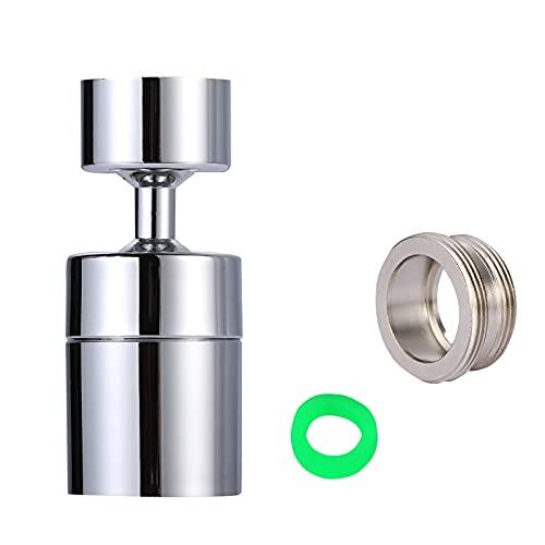 Yizhet Wasserhahn-Luftsprudler, 360-Grad-drehbarer Schwenkkopf, Messing Einstellbare 2 Modi Wasserhahn Bubbler Filter mit Düsenadaptern - für Küche/Bad Hahn mit M22 Außengewinde oder FM24 Innengewinde