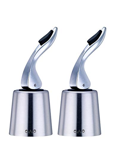 OWO Wine stoppers for Bottles of Opened Wine, Stainless Steel Wine Bottle Plug Saver, Reusable Rubber Sealer (2pack)