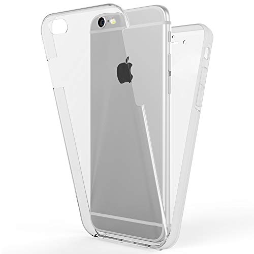 NALIA Funda Integral Compatible con iPhone 6 Plus / 6S Plus, Carcasa Completa con Cristal Templado, Ultra-Fina Telefono Movil Cubierta Protectora Cover Delgado Bumper Phone Case, Color:Transparente