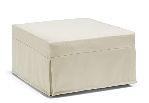 Talamo Italia Pouf Letto Flash, Traformabile in letto, Made in Italy, cm 80 x 80 h45, Panna