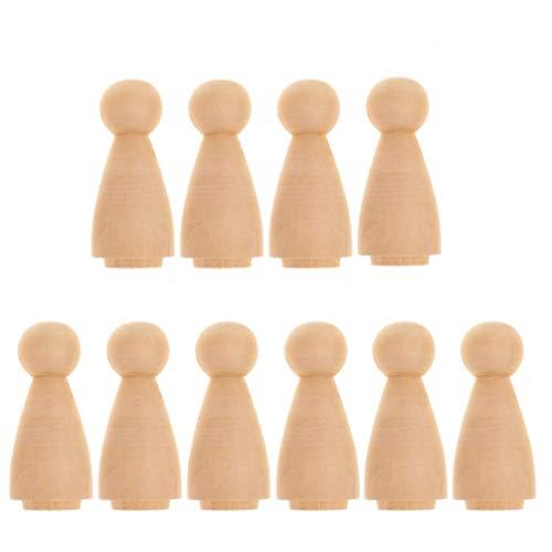 Healifty 10 Stück Holzkegel Holz Spielfiguren zum Bemalen Basteln Holzfiguren Dekoration Ornament
