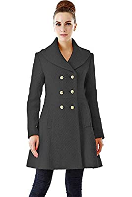 BGSD Women's Wool Blend Shawl Collar Walking Coat, Black, Medium by