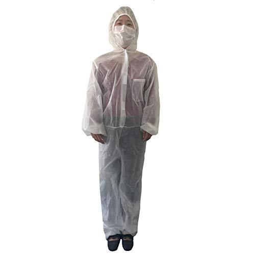 Shulky Einweg-Overall mit Schutzanzug, Leichte Medical Isolationskleidung, Weiß Schutzkleidung Staubdichte Wasserdicht Prävention Sicherheitsschutzkleidung (Weiß,L)