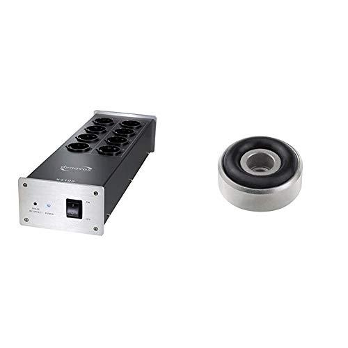 Dynavox HiFi-Netzfilter X4100S, Mehrfach-Steckdose mit 8 Steckplätzen, mit LED-Kontrollleuchte für korrekte Phasenlage, Silber & 207271 Aluminium Gerätefüsse Mini 4er-Set Silber
