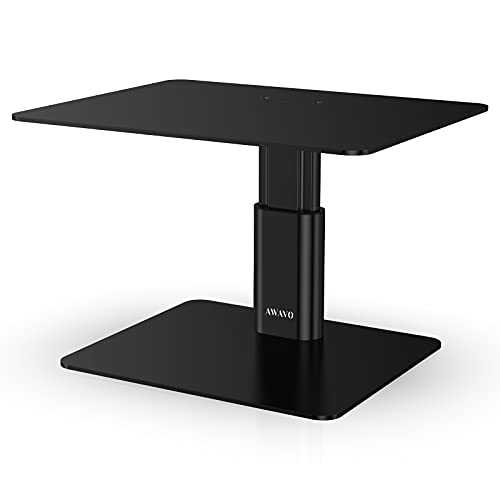 AWAVO Monitor Riser Stand, Adjustable Height Metal Desk Organizer Stand Compatible with Laptop, Computer, iMac, TV, PC, Desktop for Office & Home