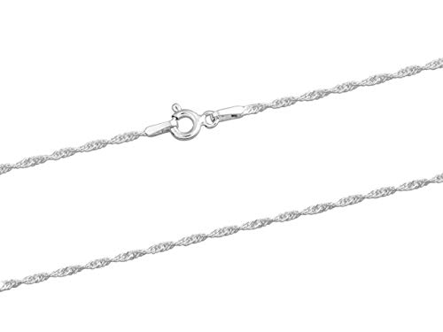 925 Sterling Silver Necklace Chain, 1.5mm Twisted Curb Jewellery Chain, 16'/40cm Length