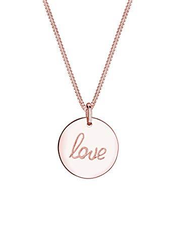 Elli Halskette Elli Damen Halskette mit Love Schriftzug Anhänger Wording Trend in 925 Sterling Silber 45 cm lang