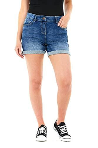 M17 Womens Boyfriend Denim Shorts M17-Pantalones Cortos de Mezclilla elásticos para Mujer, Estilo Casual, de Verano, clásicos, de algodón, con Bolsillos (16, Medio), Mediados De Azul, 44