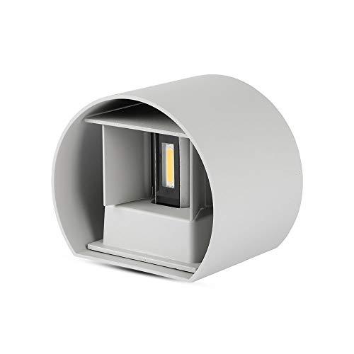 V-TAC SKU.7083 Applique Murale LED 6W Rond Gris IP65 VT-756, Plastique,et Autre materiaux, E27, 6 W, Profondeur :100 mm