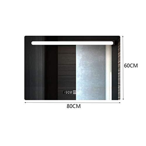 MU Rahmenlose LED-Badspiegelleuchte zur Wandmontage für den Haushalt Smart Touch Entnebelungszeit Temperaturanzeige Badspiegel,Kreuz weißes Licht,60 * 80 cm