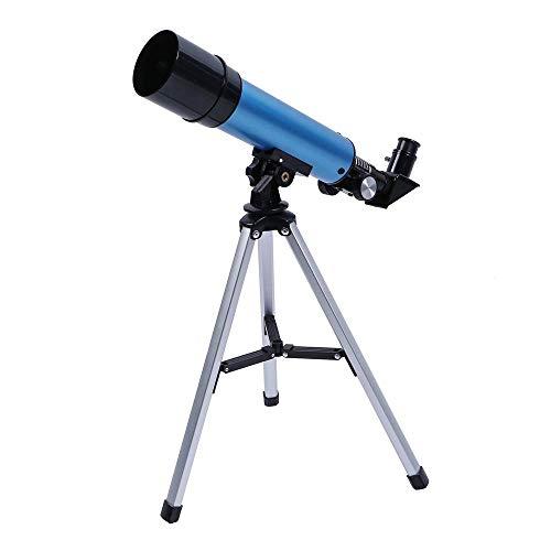 LLGBD Telescopio de alta definición para niños, telescopio de refractario astronómico de 50 mm para adultos y principiantes, telescopio con trípode, buen socio para ver luna y planeta