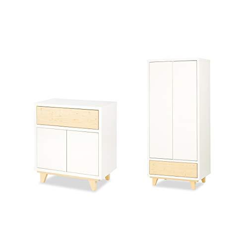 Cómoda y armario con 2 puertas Lydia de LittleSky by Klups - Blanco