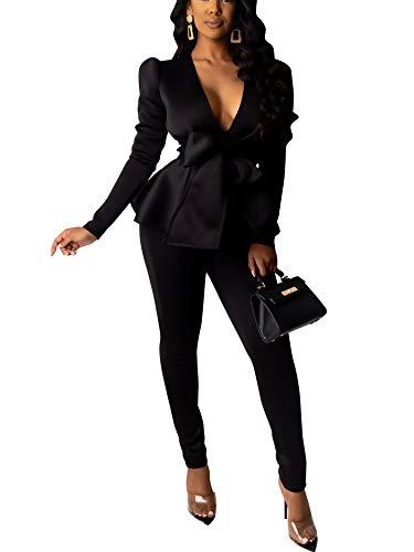 Pants and Blazer Set for Women Long Sleeve Ruffle Hem Peplum Blazer with Bodycon Long Pants 2 Piece Outfits X-Large Black