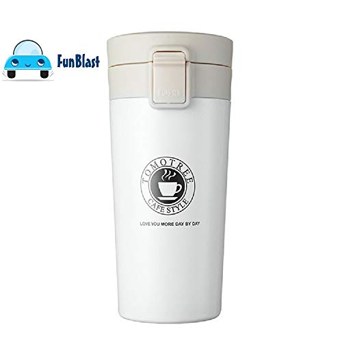 FunBlast Coffee Mug with Vacuume Insulated Stainless Steel Thermos Tumbler Cups Vacuum Flask Tea Coffee 380 ML (White)