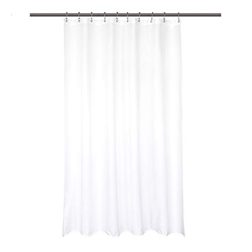 """Barossa Design Waterproof Fabric Shower Stall Curtain Liner 54"""" W x 78"""" H - Hotel Quality, Machine Washable, White Shower Liner for Bath Tub, 54x78"""